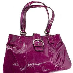 COACH Plum Patent Leather Soho + Matching Wallet